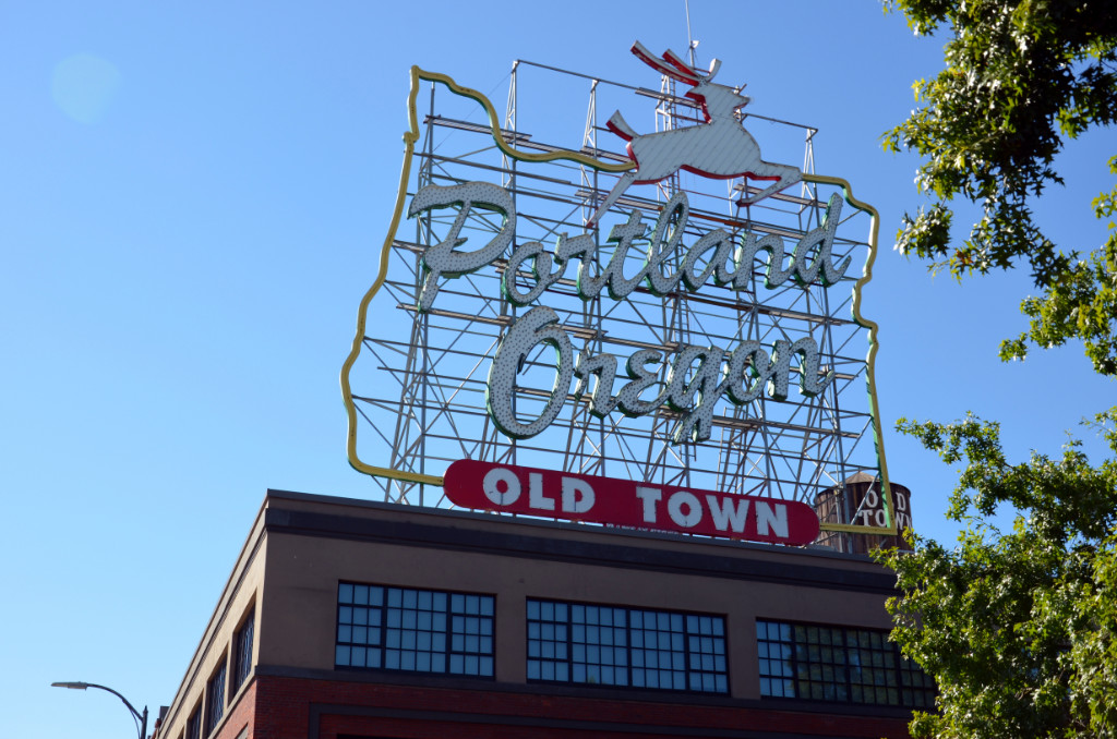Portland - White Stag Sign