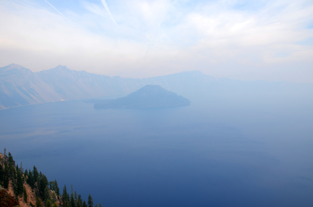 Wizard Island in Fog - Crater Lake NP